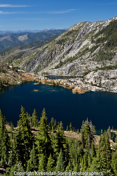 CA02766-00...CALIFORNIA - Caribou and Lower Caribou Lakes from the summit of the Caribou Scarmble in the Trinity Alps Wilderness of the Shasta-Trinity National Forest.