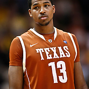 SHOT 2/26/11 4:43:12 PM - Texas' Tristan Thompson (#13) during a break in the action against Colorado during their regular season Big 12 basketball game at the Coors Events Center in Boulder, Co. Colorado upset the fifth ranked Texas 91-89. (Photo by Marc Piscotty / © 2011)