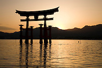 The dramatic torii of Itsukushima Shrine is one of Japan's most popular attractions. The gate has existed since 1168, though the current gate was reconstructed in 1875. Built of camphor wood and standing about 16 metres high the gate was built in a four legged style to provide additional stability. The gate only appears to be floating and only at high tide.  When the tide is low the gate is surrounded by mud.  Retaining the purity of the island is so important that no deaths or births were permitted in the area until quite recently.