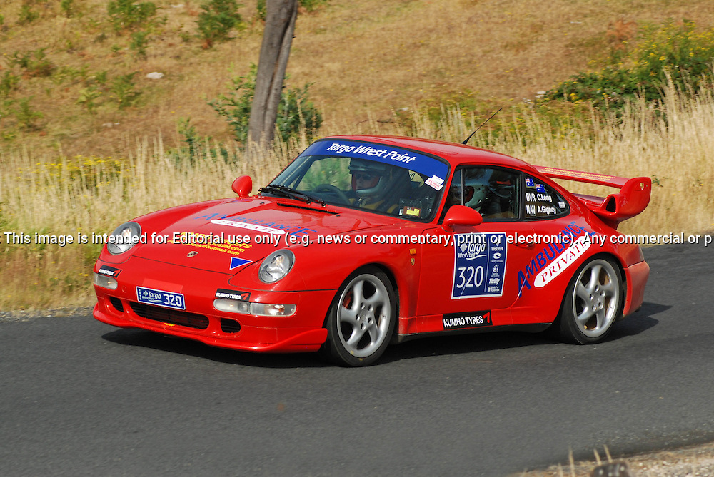 320 Chris Long & Anne Gigney..1996 Porsche 993 Turbo.Day 2.Targa Wrest Point 2010.Southern Tasmania.31st of January 2010.(C) Sarah Biggin.Use information: This image is intended for Editorial use only (e.g. news or commentary, print or electronic). Any commercial or promotional use requires additional clearance.