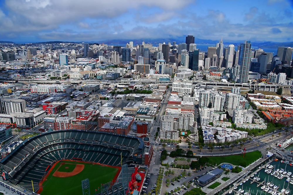 AT&T Park & San Francisco Skyline (Aerial)