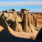 "Several ""mushroom pedestal"" rock formations dot the landscape in Theodore Roosevelt National Park in the Badlands of North Dakota. The formations are carved by rain and wind."