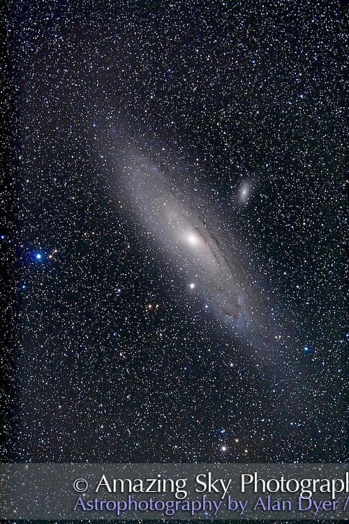 M31, Andromeda Galaxy, with companions M32 and M110. Taken with 92mm TMB apo refractor and Borg 0.85x flattener/compressor, and Canon 5D MkII camera at ISO 400 for stack of 4 exposures x 10 minutes and stack of 2 exposures x 2 minutes (for the core) blended in Photoshop with layer mask. (Photomatix HDR did not work -- images did not align, due to field rotation?). North is up in this vertical orientation.