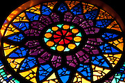 Mauritius. Stained glass. Church at Pamplemousses.