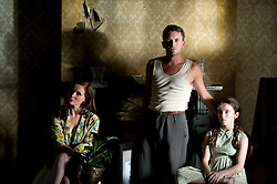 Essie Davis as Dolly Pickles, Stephen Curry as Sam Pickles & Lara Robinson as Young Rose Pickles  - Cloud Street. Photograph by David Dare Parker Scene 1-69 Pt1