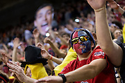"""A Gonzaga fan dances during """"Zombie Nation"""" prior to the men's basketball game against Memphis at the McCarthey Athletic Center in Spokane, WA, Saturday, Jan. 31, 2015. (Ryan Sullivan/Gonzaga University)"""