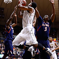WEST LAFAYETTE, IN - JANUARY 02: Terone Johnson #0 of the Purdue Boilermakers shoots the ball against Brandon Paul #3 of the Illinois Fighting Illini at Mackey Arena on January 2, 2013 in West Lafayette, Indiana. (Photo by Michael Hickey/Getty Images) *** Local Caption *** Terone Johnson; Brandon Paul