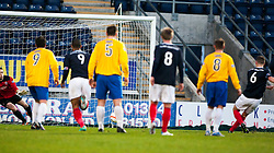 Falkirk's Stewart Murdoch (6) scoring the first goal from the penalty spot..half time : Falkirk v Cowdenbeath, 15/12/2012..©Michael Schofield.