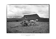 Saving hay at the foot of Ben Bulben, County Sligo.<br /> <br /> 25th April 1957<br /> 25/04/1957