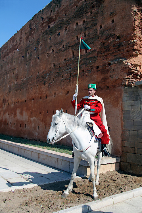 Africa, Morocco, Rabat. Guard on horse at Hassan Tower Gate.