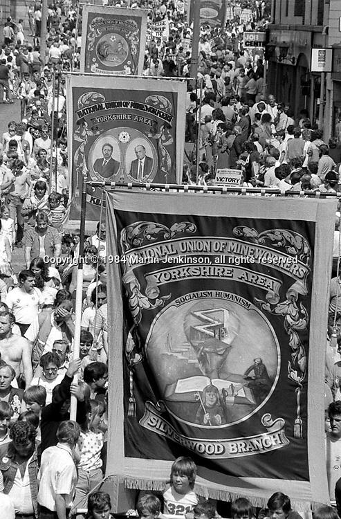 Silverwood, Kilhurst and Barnburgh banners, 1984 Yorkshire Miner's Gala. Wakefield.