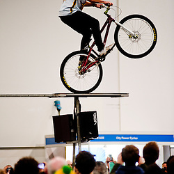 London, UK - 17 January 2013: a performer on his bike at the London Bike show 2013 at the Excel.