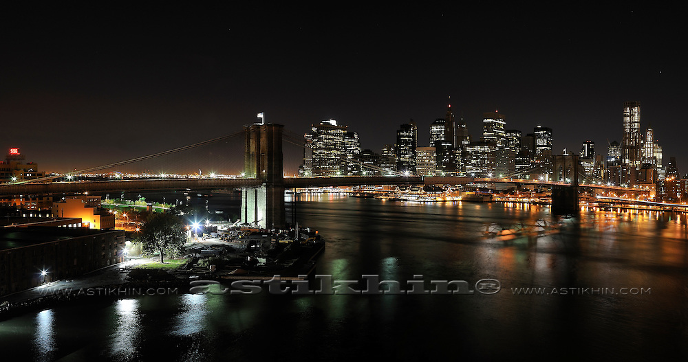 Night on East River NYC from Brooklyn