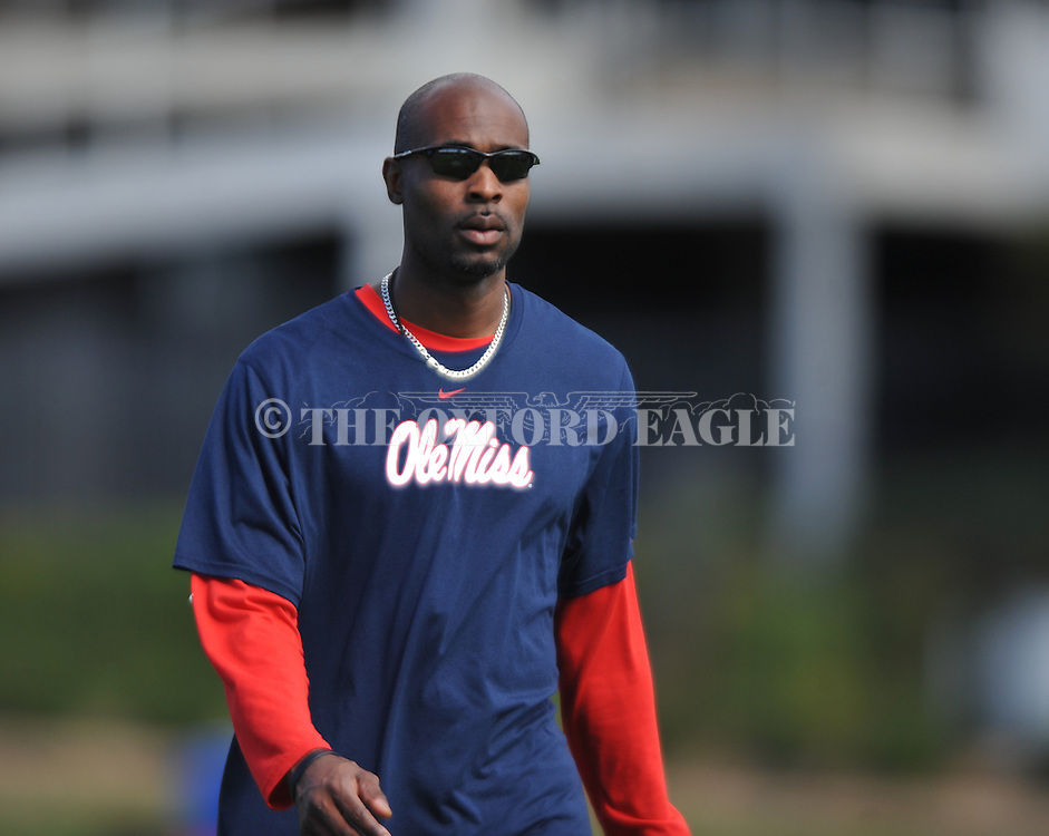 Ole Miss assistant coach Grant Heard at  spring practice in Oxford, Miss. on Friday, March 23, 2012. (AP Photo/Oxford Eagle, Bruce Newman)