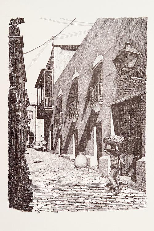 Cat.#2 - Lithographic print of Pen and Ink drawing of a typical alley scene in Old San Juan depicting a young man carrying produce. Printed on heavy, pebbled stock.<br /> Paper size is 10x13&quot;. Image size is approximately 6x9&quot; <br /> Cat.#2 - Impresi&oacute;n litogr&aacute;fica de un dibujo a plumilla de una escena t&iacute;pica de un callej&oacute;n en el Viejo San Juan que describe un muchacho cargando un cesto de frutas. Impreso en papel grueso y textura liviana.<br /> Tama&ntilde;o del papel es 10x13&quot;. Tama&ntilde;o de la imagen es aproximadamente 6x9&quot;