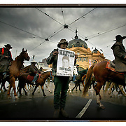 600 horses ride through the streets of Melbourne in protest against the Governments decision to stop cattle grazing in the Alpine region.  Melbourne, Australia.