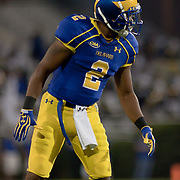 Delaware Cornerback Marcus Burley #2 setup for the upcoming play during a Week 1 NCAA football game against West Chester. ..#15 Delaware defeated West Chester 41-21 in their home opener at Delaware Stadium Thursday Aug. 30, 2012 in Newark Delaware...Delaware will return home Sept. 8, 2012 at 3:30pm for a showdown with interstate Rival Delaware State in the Route 1 Rivalry Bowl at Delaware Stadium.