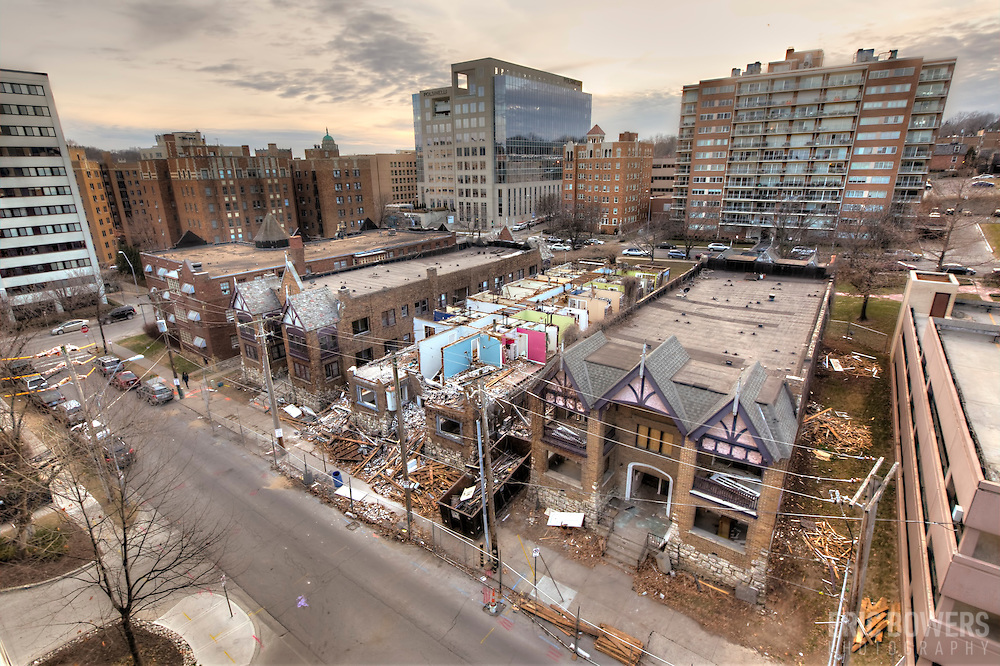 Demolition underway on historic apartment buildings in Kansas City, Missouri. Buildings designed by Nelle Peters, prominent early 20th-century female architect.