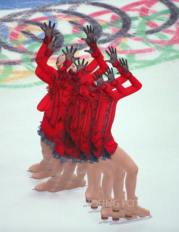 A multiple exposure picture of Yulia Lipnitskaya of Russia performing during the women's Free Skating of the Figure Skating team event at the Iceberg Skating Palace during the Sochi 2014 Olympic Games, Sochi, Russia, 09 February 2014.