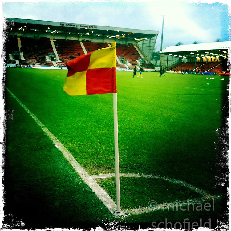 East End Park is a football stadium situated in Dunfermline, Fife. The stadium plays host to the home matches of Scottish First Division side, Dunfermline Athletic F.C.Hipstamatic images taken on an Apple iPhone..©Michael Schofield.