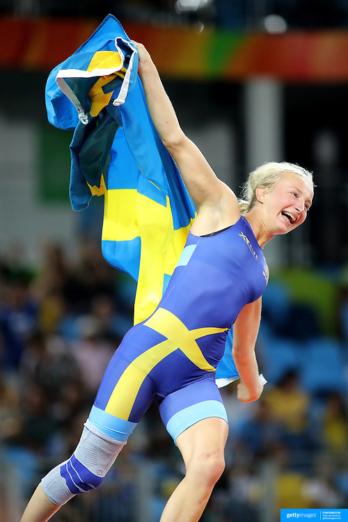 Wrestling - Olympics: Day 13    Sofia Magdalena Mattsson of Sweden celebrates after defeating Zhong Xuechun of China in the Women's Freestyle 53 kg Bronze Medal match at the Carioca Arena 2 on August 18, 2016 in Rio de Janeiro, Brazil. (Photo by Tim Clayton/Corbis via Getty Images)