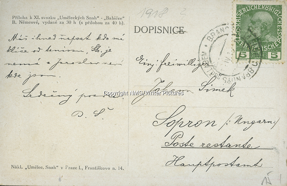 Back of a postcard of Bozena Nemcova, Czech Writer<br /> <br /> Copyright NMG/Writer Pictures<br /> WORLD RIGHTS