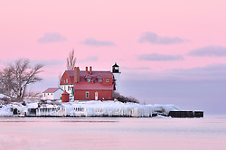 Colors displayed before sunrise at Point Betsie, Lake Michigan