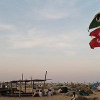 Santhome beach front. Santhome Beach and adjoining Marina Beach in Chennai, India were hit hard by the 2004 Tsunami. Fishermen and their families were the main victims living in their lightweight huts on the long and flat beaches of the area. All structures within 300 metres of the sea have now been banned and any left standing after the Tsunami were demolished. The fishermen and their families have now been relocated to government blocks of flats which has become a Santhome slum for fishermen and their families.