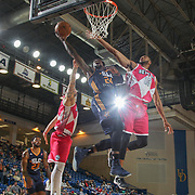 Salt Lake City Stars Guard JERMAINE TAYLOR (24) drives towards the basket as Delaware 87ers Forward SHANE EDWARDS (13) defends in the second half of an NBA D-league regular season game between the Delaware 87ers and the Salt Lake City Stars (Utah Jazz) Friday, March 17, 2017 at The Bob Carpenter Sports Convocation Center in Newark, DEL