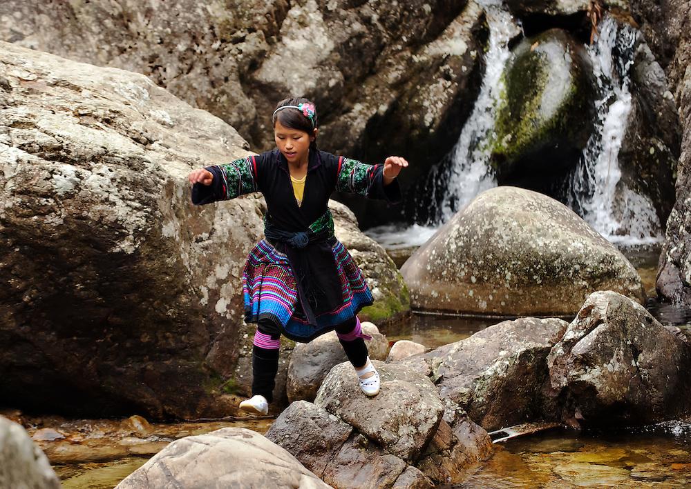 A Black Hmong girl having fun in Sapa, Vietnam.