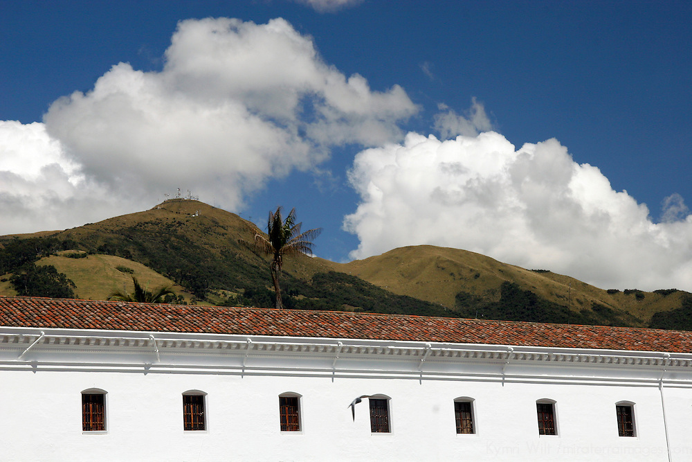 South America, Ecuador, Quito. Perspective of the San Francisco church in Quito's historical center.