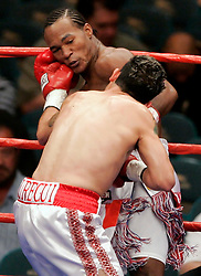 May 6, 2006 - Las Vegas, NV - Joan Guzman and Javier Jauregui trade punches during their 12 round bout at the MGM Grand Garden Arena.  Guzman won the bout via 12 round unanimous decision.