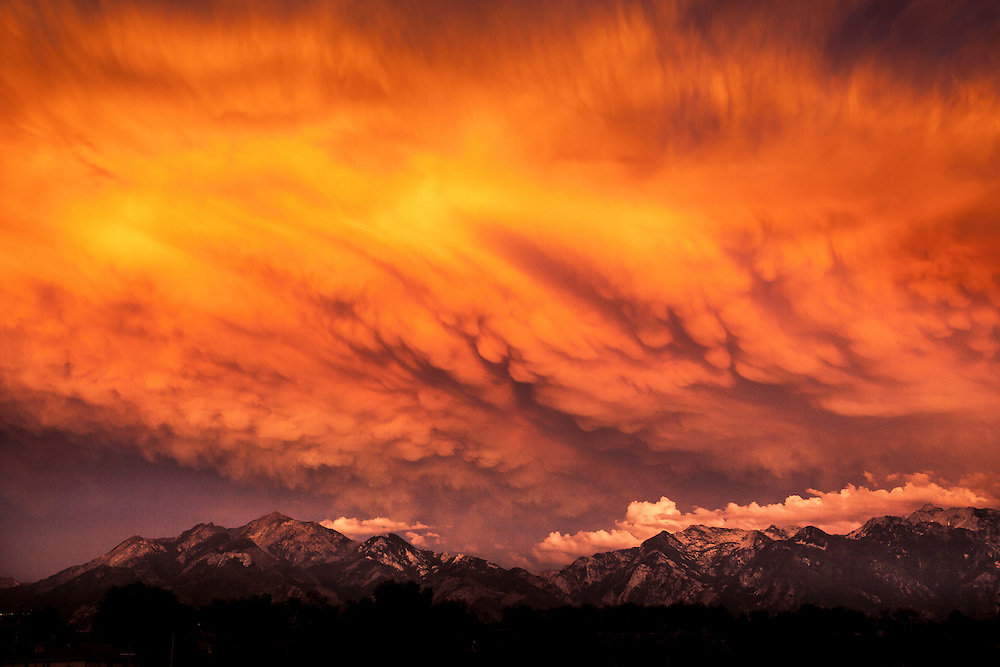 Dramatic sunset cloud formations over the Wasatch Mountains, Salt Lake City, Utah