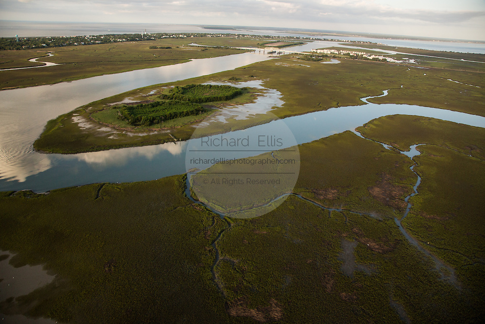 Aerial view of the tidal marsh looking toward Sullivan's Island in Charleston, SC