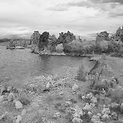Mono Lake Tufa Castle - Incoming Storm -  Black & White