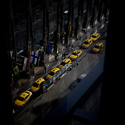 Cabs line up outside a hotel in the new section of Tallinn, Estonia in Sept. 2009. The young democracy joined the European Union in 2004 and since has been working on getting the euro as its national currency. Estonia has one of the highest per capita incomes in central europe.