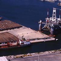 Aerial view of oil drilling rig and tanker outside Galveston, TX