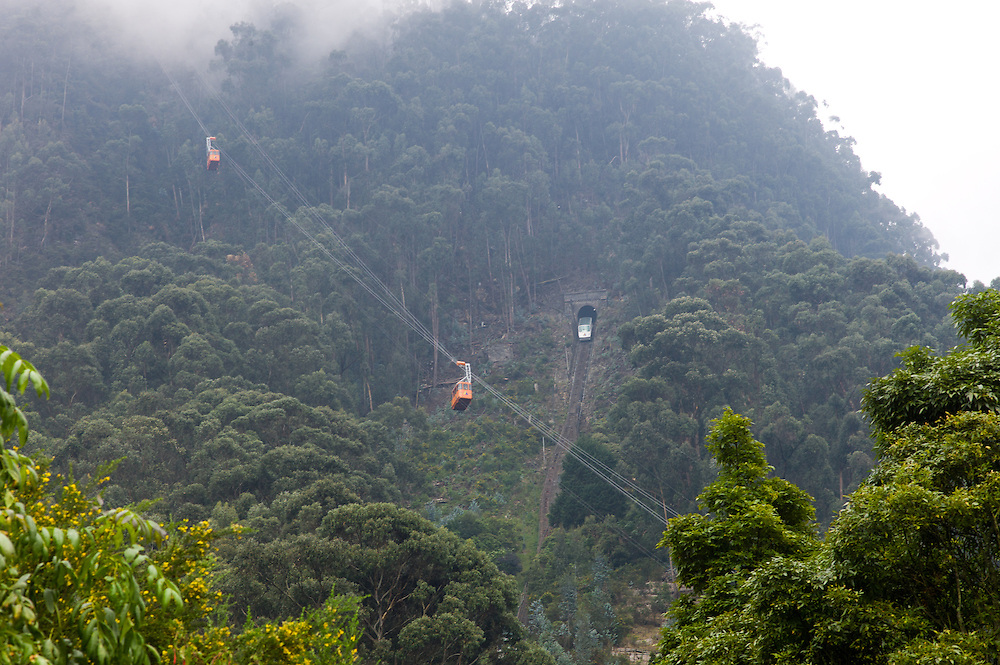 Cable car and funicular serving Monserrate near Bogotá, Colombia.