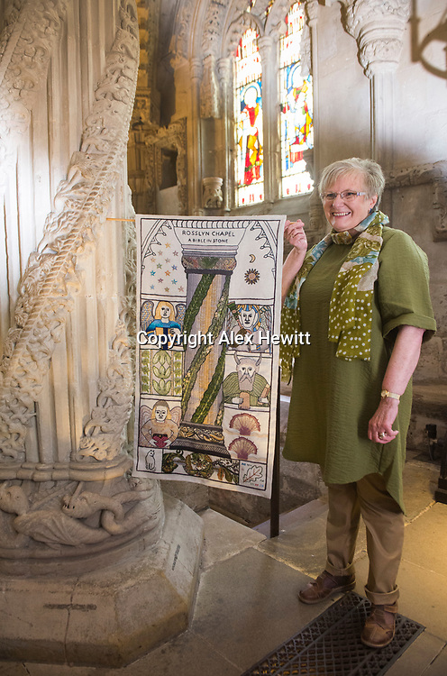 FREE PICTURE FOR GREAT TAPESTRY OF SCOTLAND PUBLICITY. TO ACCOMPANY PRESS RELEASE.<br /> <br /> The Roslin stitching group of the Great Tapestry of Scotland showcase the replacement for the Rosslyn chapel panel that was stolen in September 2015<br /> <br /> Fiona Mcintosh (Lead stitcher)<br /> <br /> picture by Alex Hewitt<br /> alex.hewitt@gmail.com<br /> 07789 871 540