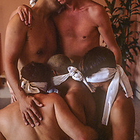 Members of a gay San Francisco mens group conduct a workshop to explore intimacy without exchanging body fluids--a technique to cope with the possibility of sexually transmitted diseases like AIDS.