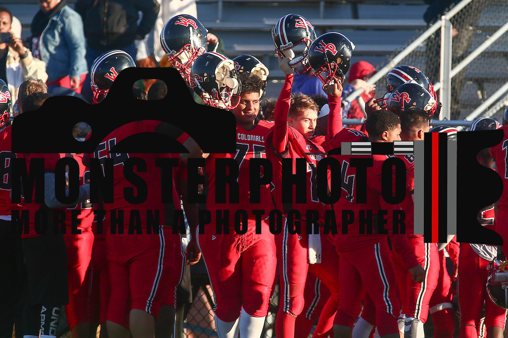 William Penn players celebrate a Week 9 DIAA 51-7 win over Charter School of Wilmington Saturday, Nov. 05, 2016, at William Penn Stadium in New Castle.