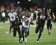 Mississippi running back Jeff Scott (3) runs 75 yards for a touchdown late in the 4th quarter vs. Vanderbilt in Nashville, Tenn. on Thursday, August 29, 2013. Ole Miss won 39-35.