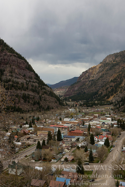 The historic City of Ouray  is a Statutory City that is the county seat and the most populous city of Ouray County, Colorado, United States. The city population was 813 at the U.S. Census 2000. The Ouray Post Office has the ZIP Code 81427. Ouray is located in the San Juan Mountains of southwestern Colorado. It is about 40 miles south of Montrose. It is only 10 miles northeast of Telluride, but due to the severity of the landscape, the drive is about 50 miles. Ouray is connected to Silverton and then Durango to the south by Red Mountain Pass which crests at just over 11,000 feet. The drive along the Uncompahgre River and over the pass is nicknamed the Million Dollar Highway, although the exact origin of the name is disputed. Yankee Boy Basin, located a few miles from town, boasts a beautiful spectacle called Twin Falls. (Wiki / 2008)