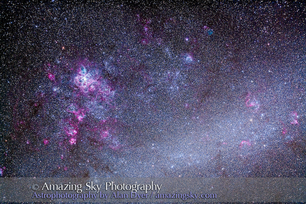 The Tarantula Nebula area, NGC 2070, of the Large Magellanic CLoud, LMC. Numerous other nebulas and clusters in this field! This is a stack of 5 x 12 minute exposures at ISO 640 with the Canon 5D MkII and 105mm Astro-Physics Traveler at f/5.6 with 6x7 field flattener. Shot December 10, 2012 from Timor Cottage at Coonabarabran, Australia