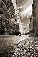 The Rio Grande River cutting through Santa Elena Canyon in Big Bend National Park.