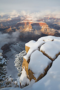 A snowy winter scene at Grand Canyon National Park in Arizona.