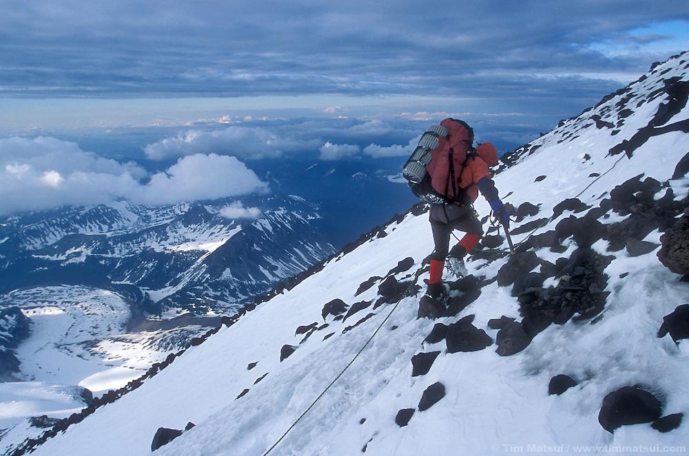 Tracy Rekart approaches Ptarmigan Ridge on Mt. Rainier.