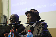 January 17, 2013- Paris, France- (L-R) Lilian Thuram. Footballer/Social Activist and Manthia Diawara, Professor, NYU  attends the Black Portraiture(s): The Black Body in the West Conference Day 1 held at Ecole national superieure des beaux-arts on January 17, 2013 in Paris, France. The Black Body in the West, the fifth in a series of conferences organized by Harvard University and NYU since 2004 explores ideas of the production of self-representation, desire and the exchange gaze from the 19th century to the present day in fashion, film, art and the archives. (Terrence Jennings)