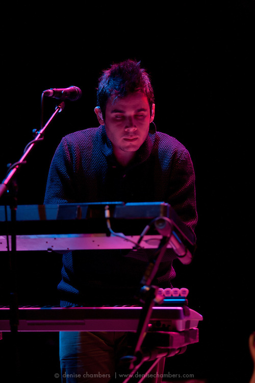 """Rostam Batmanglij of Vampire Weekend performs on September 3, 2010 in support of """"Contra"""" at Red Rocks Amphitheater in Morrison, Colorado."""