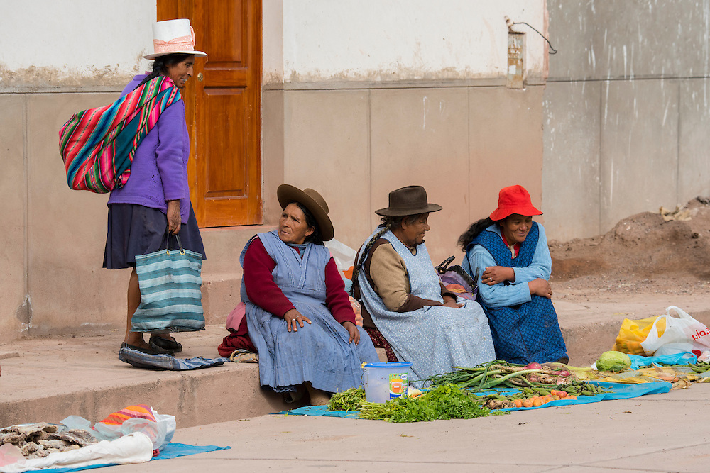South America,Peru, street market in small village in the Andes near Cusco